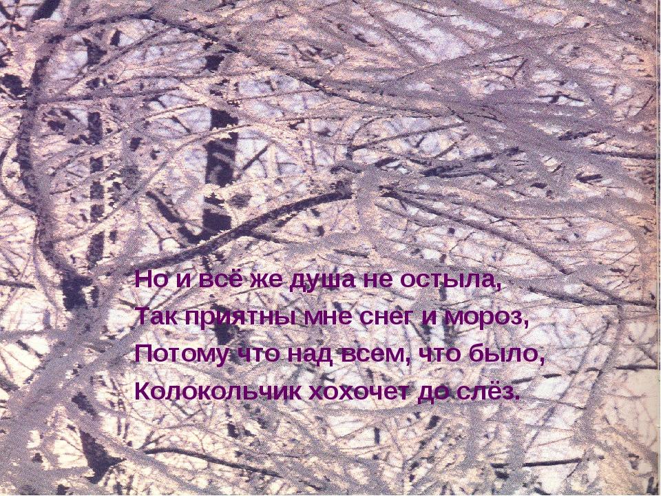 Но и всё же душа не остыла, Так приятны мне снег и мороз, Потому что над всем...