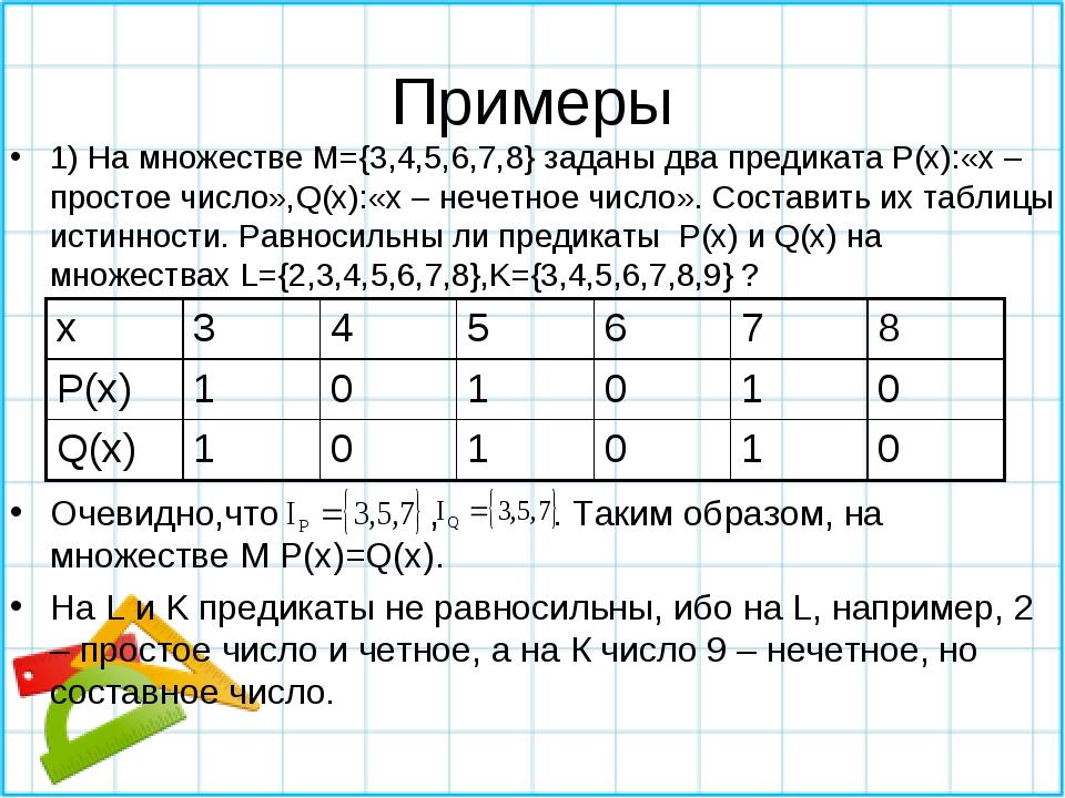 Примеры 1) На множестве M={3,4,5,6,7,8} заданы два предиката P(x):«х – просто...
