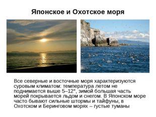 Японское и Охотское моря Все северные и восточные моря характеризуются суровы