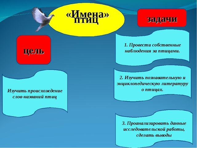 «Имена» птиц цель задачи 2. Изучить познавательную и энциклопедическую литер...