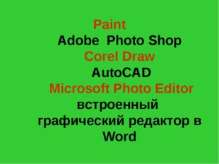 Paint Adobe Photo Shop Corel Draw AutoCAD Microsoft Photo Editor встроенный г