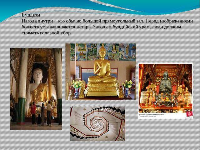 Буддизм Пагода внутри – это обычно большой прямоугольный зал. Перед изображен...