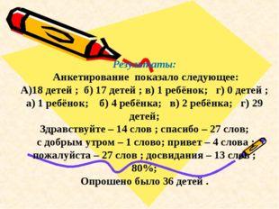 Результаты: Анкетирование показало следующее: А)18 детей ; б) 17 детей ; в)