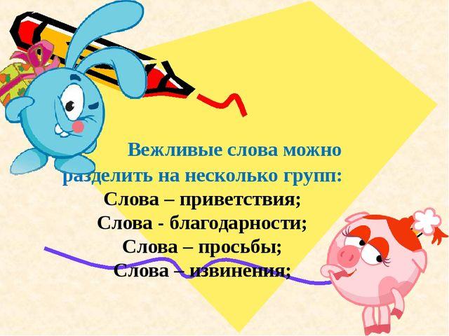 В Вежливые слова можно разделить на несколько групп: Слова – приветствия; Сл...
