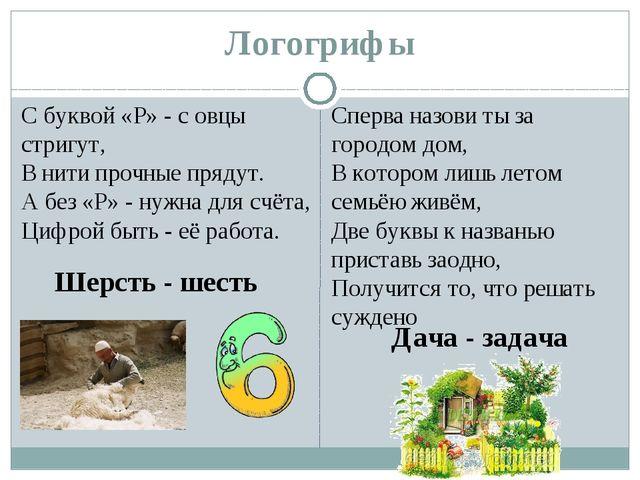 Логогрифы С буквой «Р» - с овцы стригут, В нити прочные прядут. А без «Р» - н...