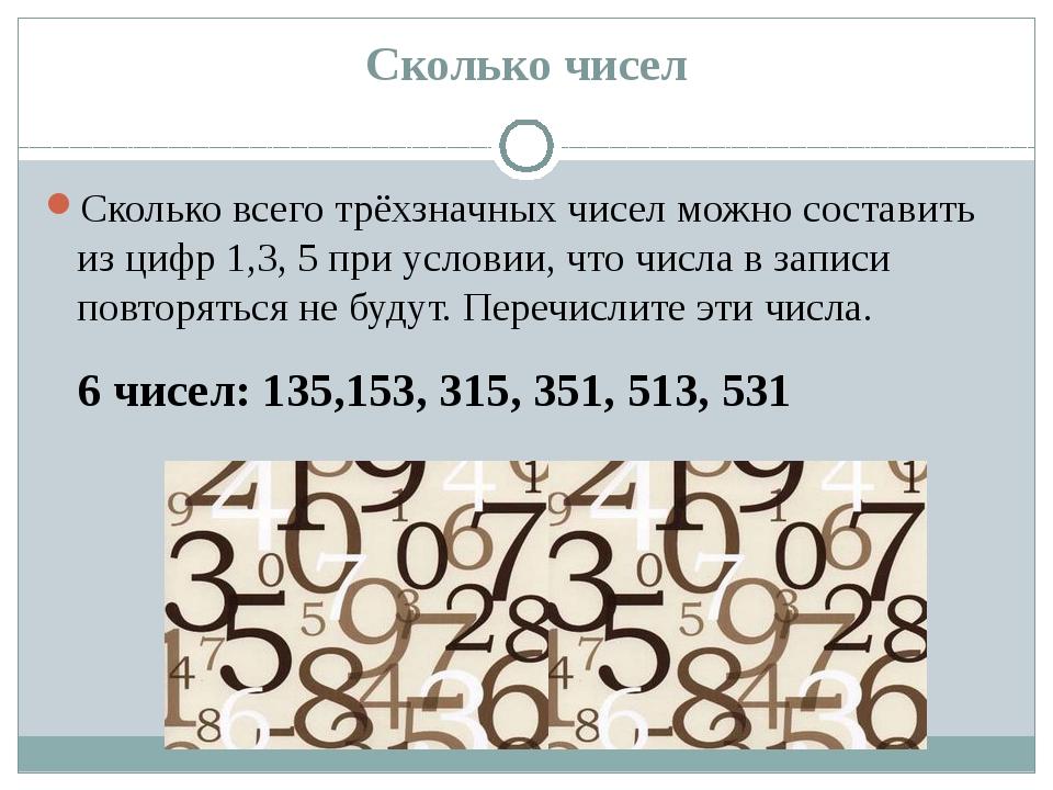 Сколько чисел Сколько всего трёхзначных чисел можно составить из цифр 1,3, 5...