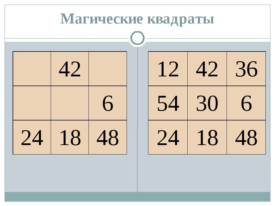 Магические квадраты 42 6 24 18 48 12 42 36 54 30 6 24 18 48