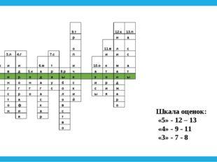 Шкала оценок: «5» - 12 – 13 «4» - 9 - 11 «3» - 7 - 8  9.