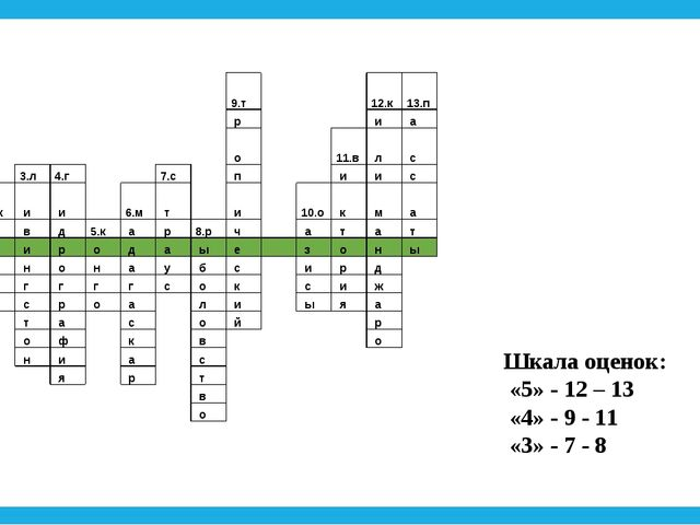 Шкала оценок: «5» - 12 – 13 «4» - 9 - 11 «3» - 7 - 8  9....