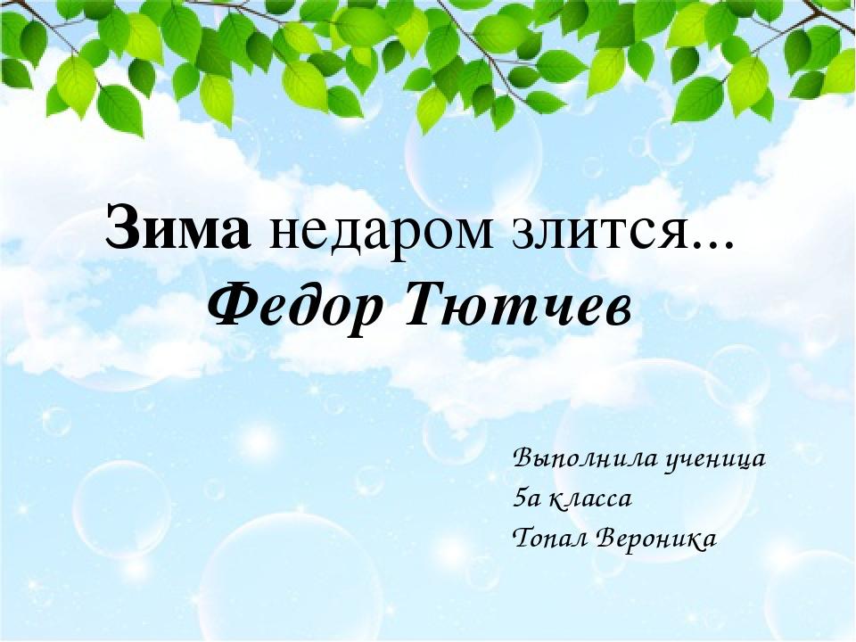 Зиманедаром злится... Федор Тютчев Выполнила ученица 5а класса Топал Вероника