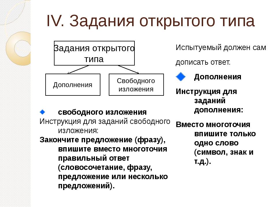 IV. Задания открытого типа Испытуемый должен сам дописать ответ. Дополнения И...