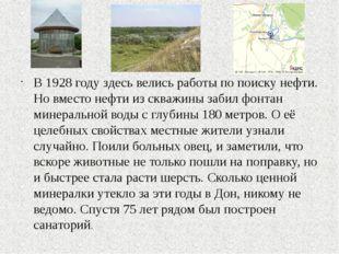 В 1928 году здесь велись работы по поиску нефти. Но вместо нефти из скважины