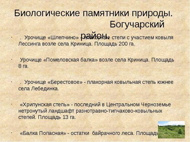 Биологические памятники природы. Богучарский район. . Урочище «Шлепчино» - п...