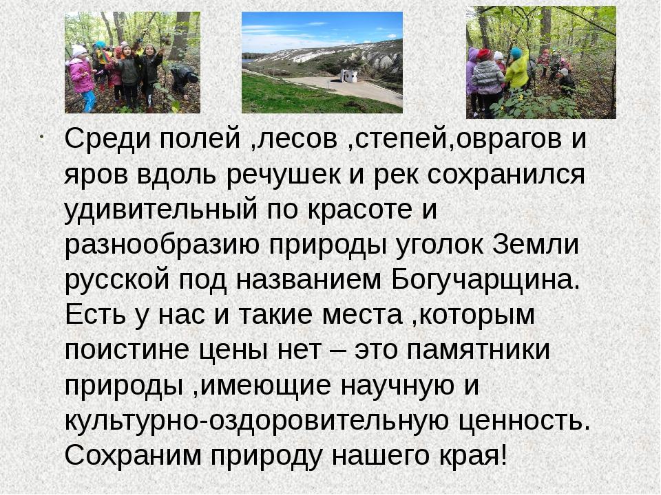 Среди полей ,лесов ,степей,оврагов и яров вдоль речушек и рек сохранился уди...