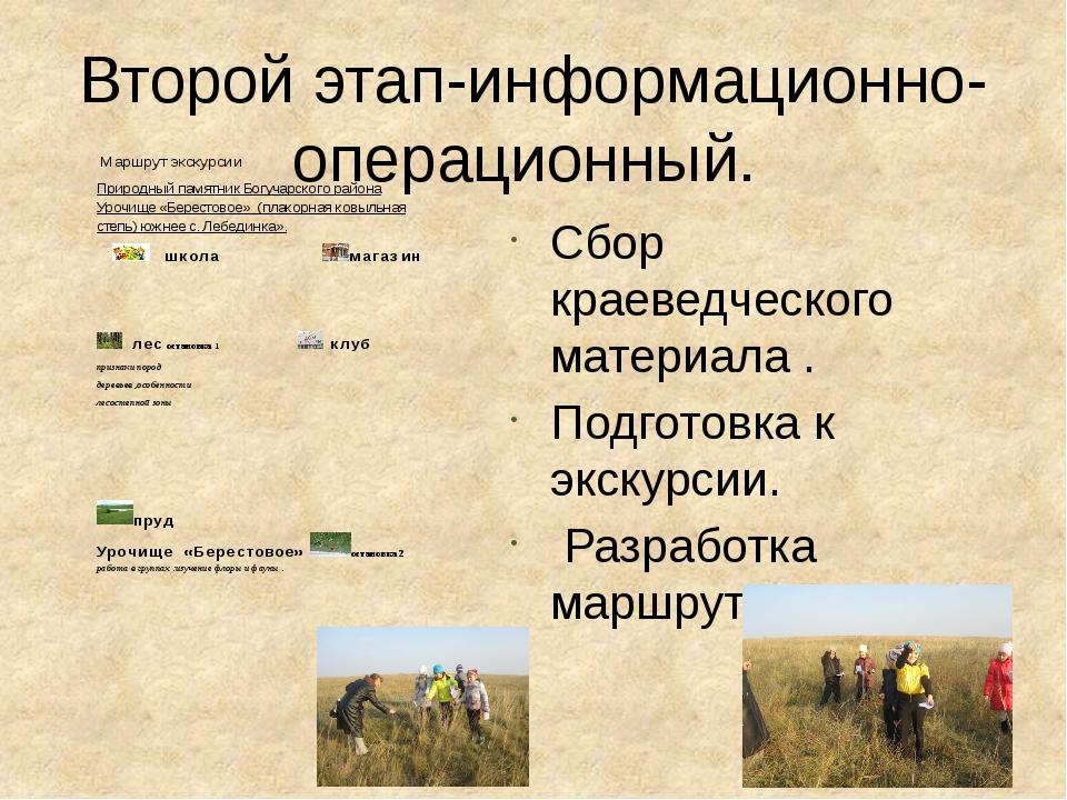 Второй этап-информационно-операционный. Сбор краеведческого материала . Подго...