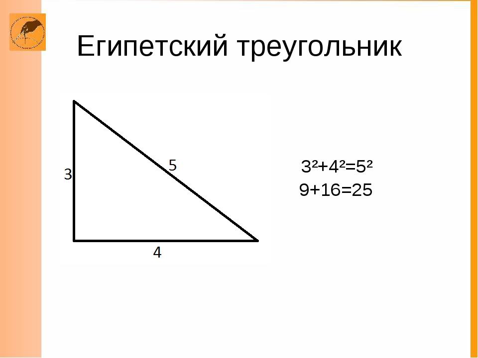 Египетский треугольник 3²+4²=5² 9+16=25
