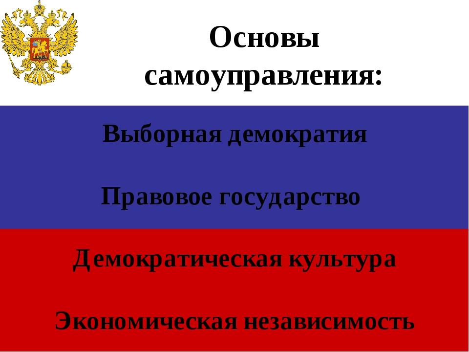 Выборная демократия Правовое государство Демократическая культура Экономичес...