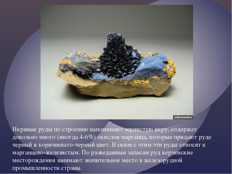 Икряные руды по строению напоминают зернистую икру, содержат довольно много (...