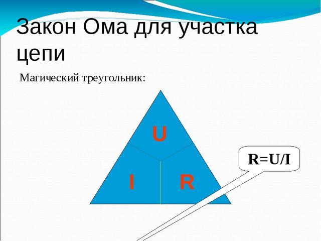 Закон Ома для участка цепи Магический треугольник: R=U/I I U R