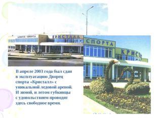 В апреле 2003 года был сдан в эксплуатацию Дворец спорта «Кристалл» с уникал