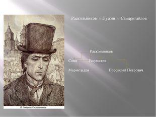 Раскольников = Лужин = Свидригайлов Раскольников Соня Разумихин Мармеладов
