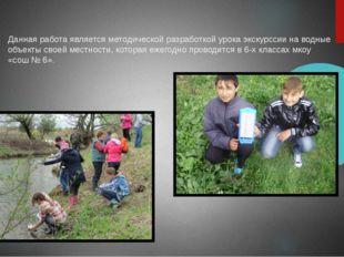 Данная работа является методической разработкой урока экскурссии на водные о