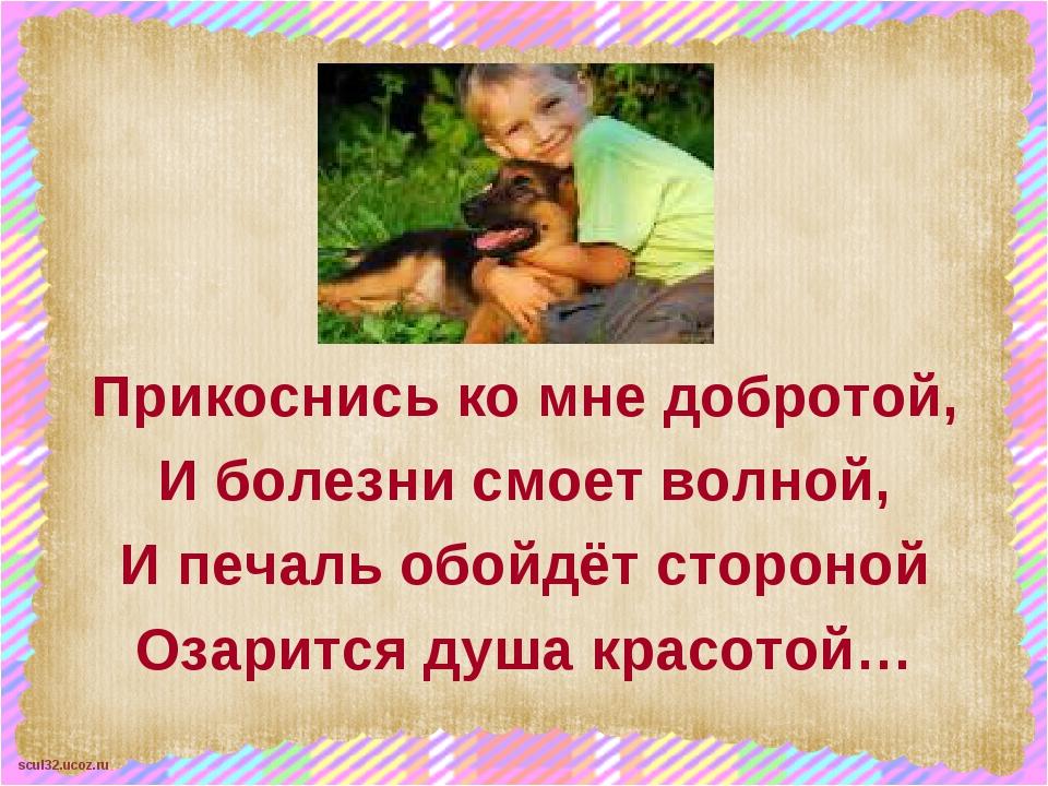 Прикоснись ко мне добротой, И болезни смоет волной, И печаль обойдёт стороно...