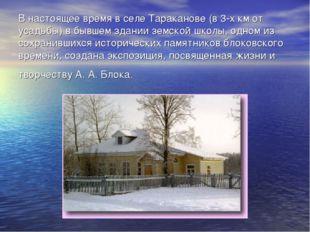 В настоящее время в селе Тараканове (в 3-х км от усадьбы) в бывшем здании зем