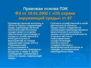 Правовая основа ПЭК Производственный контроль в области охраны окружающей сре