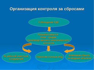 Организация контроля за сбросами Соблюдение ПДС Разрабатывается план –график