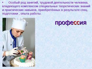 профессия Особый род занятий, трудовой деятельности человека, владеющего комп