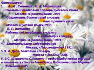 Литература 1. А . А . Семенюк , М. А. Матюшина Школьный толковый словарь русс