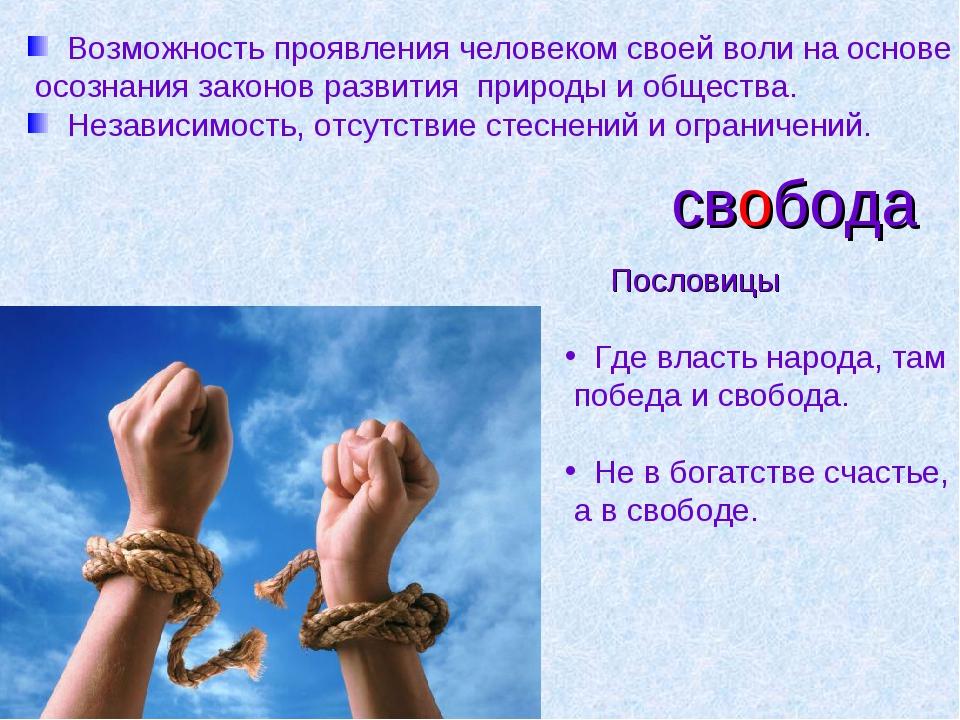 свобода Возможность проявления человеком своей воли на основе осознания закон...