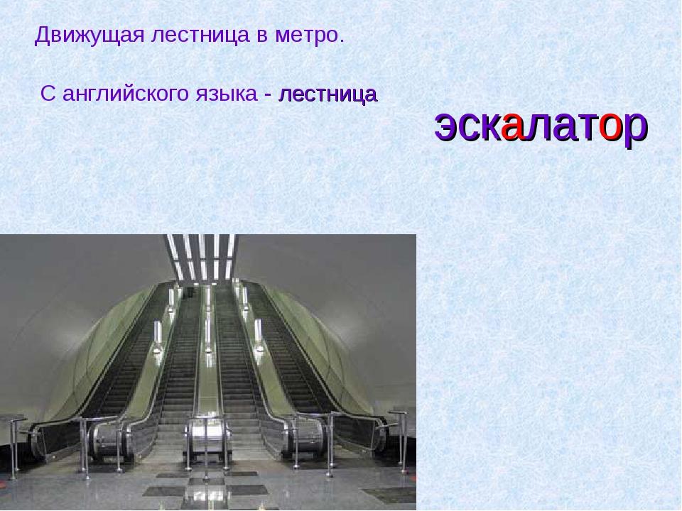 эскалатор Движущая лестница в метро. С английского языка - лестница