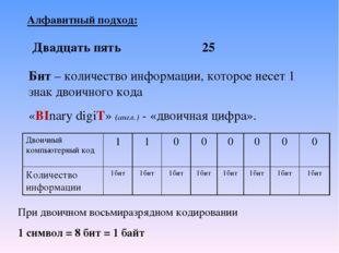 Алфавитный подход: Бит – количество информации, которое несет 1 знак двоичног