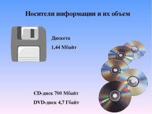 Носители информации и их объем Дискета 1,44 Мбайт CD-диск 700 Мбайт DVD-диск