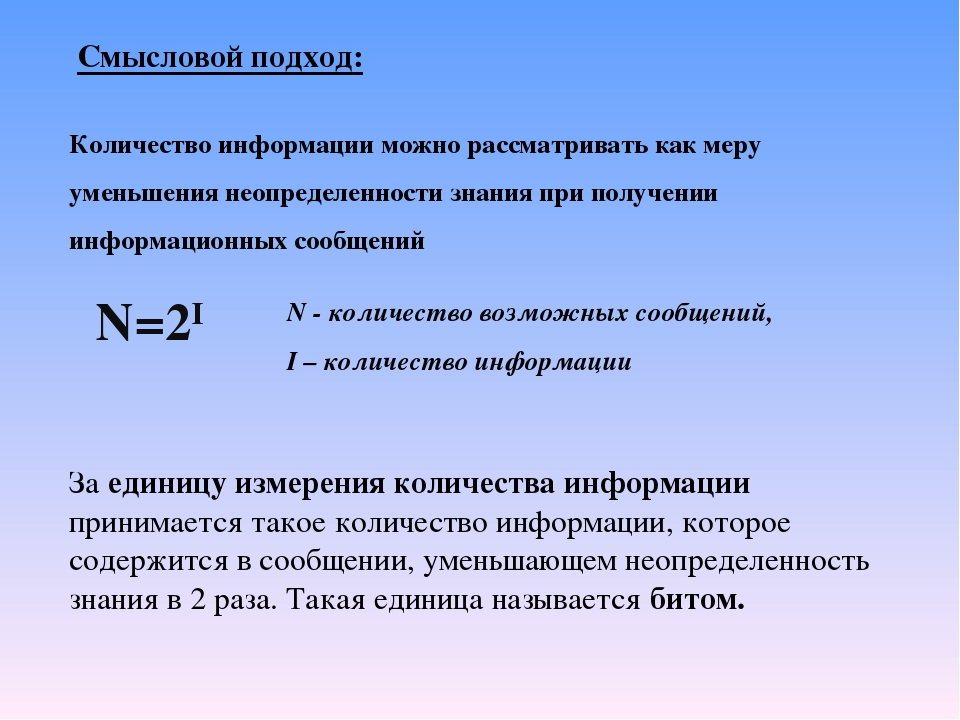Смысловой подход: Количество информации можно рассматривать как меру уменьшен...