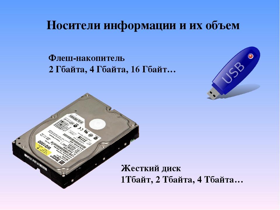 Носители информации и их объем Флеш-накопитель 2 Гбайта, 4 Гбайта, 16 Гбайт…...