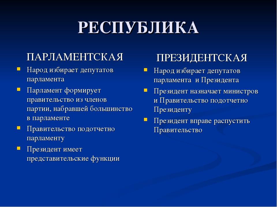 РЕСПУБЛИКА ПАРЛАМЕНТСКАЯ Народ избирает депутатов парламента Парламент формир...