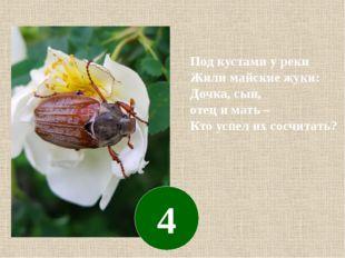 Под кустами у реки Жили майские жуки: Дочка, сын, отец и мать – Кто успел их