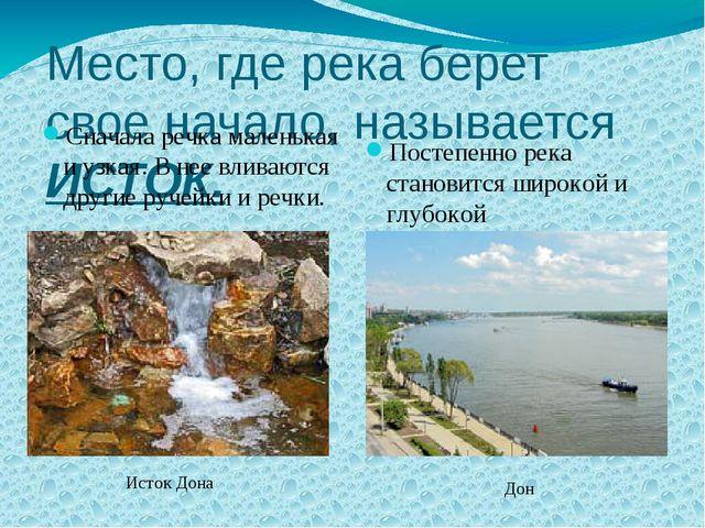 Место, где река берет свое начало, называется ИСТОК. Сначала речка маленькая...