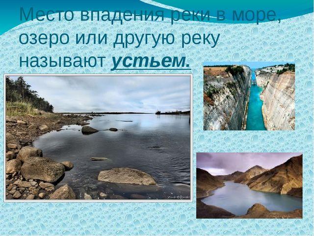 Место впадения реки в море, озеро или другую реку называют устьем.