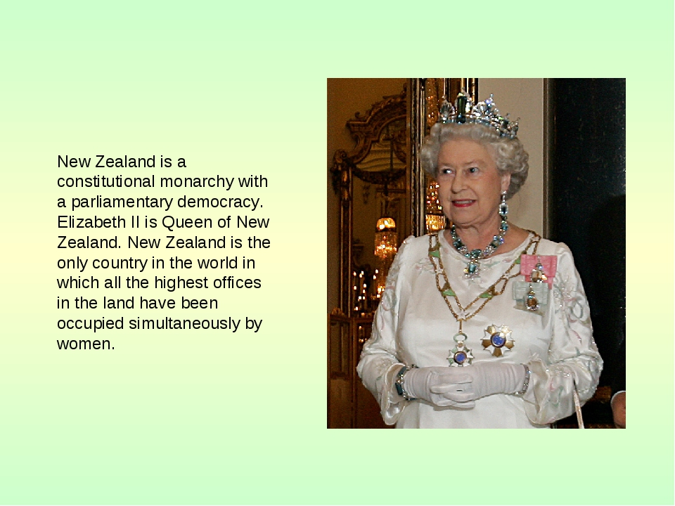 New Zealand is a constitutional monarchy with a parliamentary democracy. Eli...