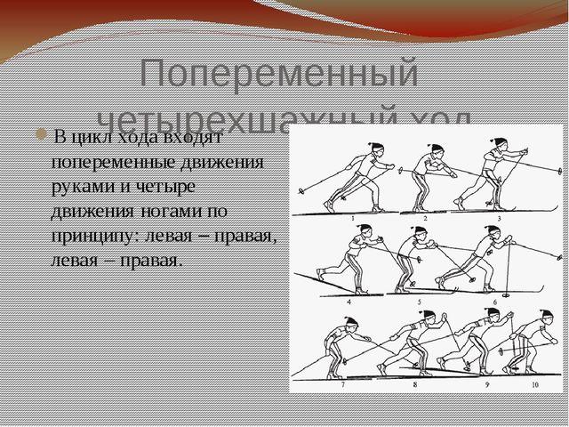 Попеременный четырехшажный ход В цикл хода входят попеременные движения рукам...