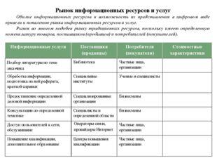 Рынок информационных ресурсов и услуг Обилие информационных ресурсов и возмож