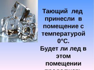Тающий лед принесли в помещение с температурой 0°С. Будет ли лед в этом помещ