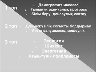 1 топ Демография мәселесі Ғылыми-техникалық прогресс Білім беру, денсаулық са