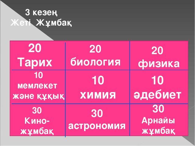 3 кезең Жеті Жұмбақ 20 Тарих 20 биология 20 физика 10 мемлекет және құқық 10...