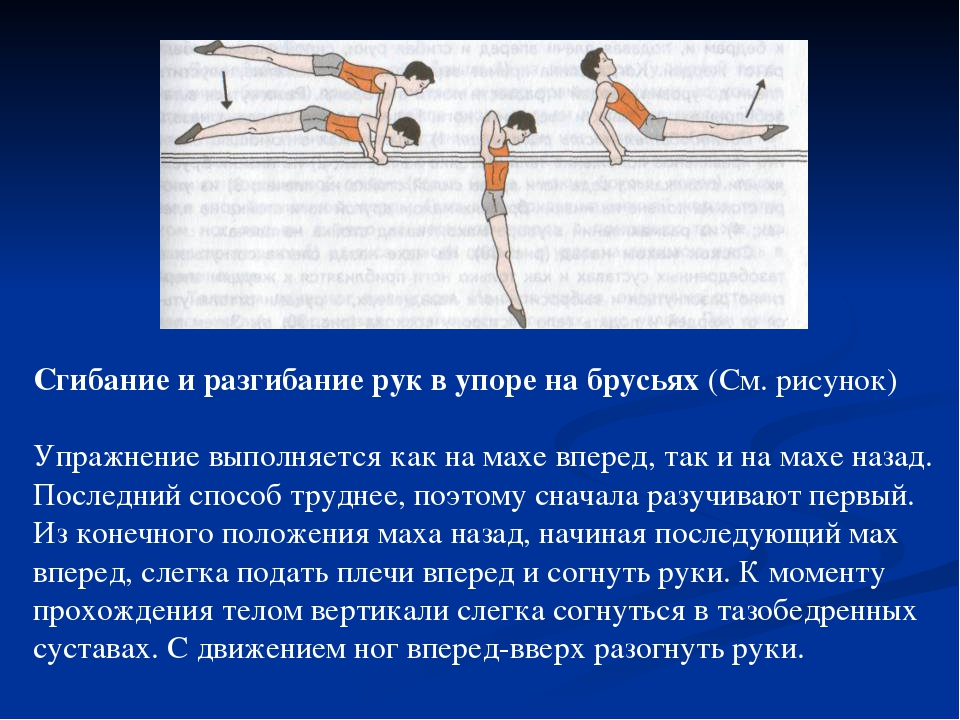Сгибание и разгибание рук в упоре на брусьях (См. рисунок) Упражнение выполн...