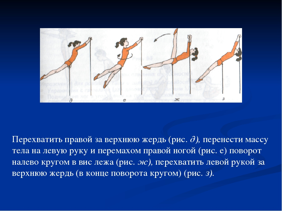 Перехватить правой за верхнюю жердь (рис. д), перенести массу тела на левую р...